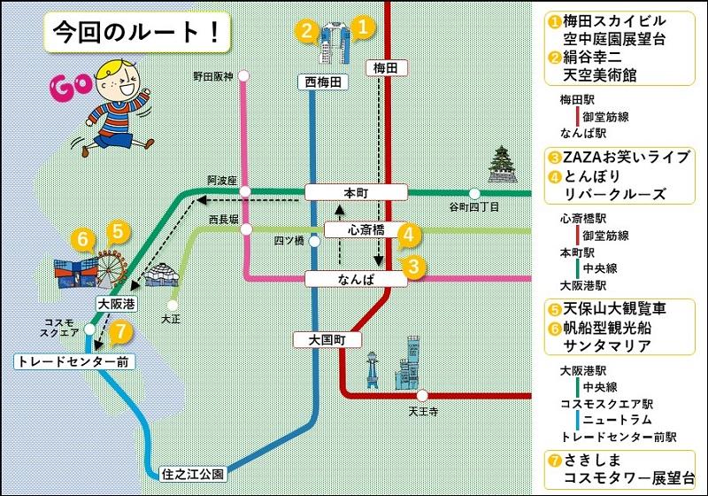 大阪周遊パスのルート