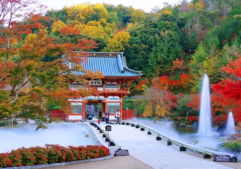 紅葉が美しい秋の勝尾寺の様子