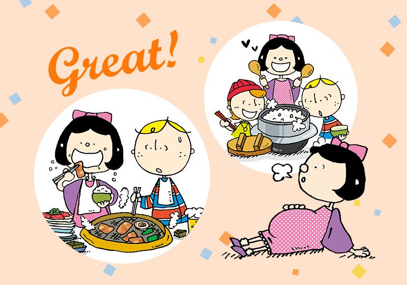 大阪観光サポーターOsaka Bobと友達の沈さんがGo To Eat 大阪キャンペーンを使って、大阪のグルメを満喫している様子
