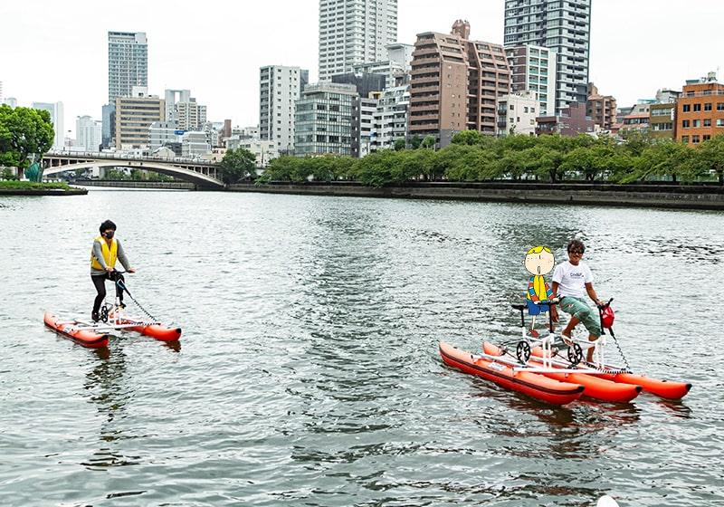 1人乗りと2人乗りがある水上自転車
