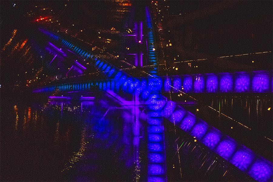 多重露光機能をで撮影した天満橋