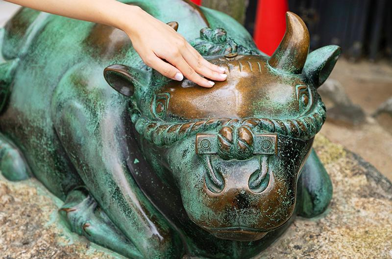 大阪天満宮のたくさんの人に頭を撫でられた撫牛の像