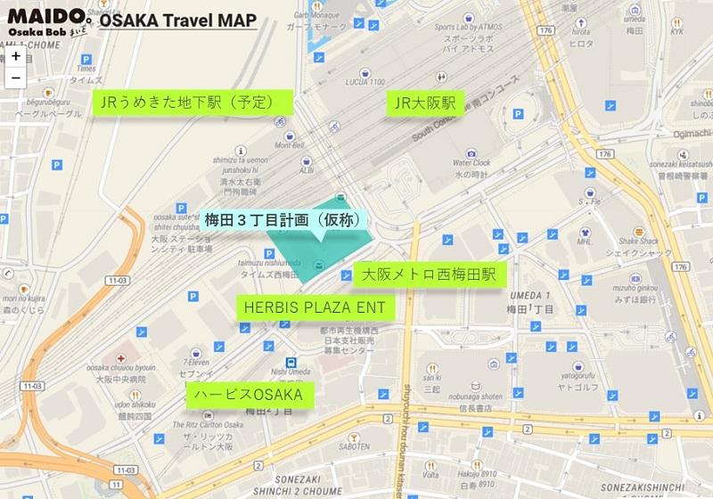 西梅田周辺の地図