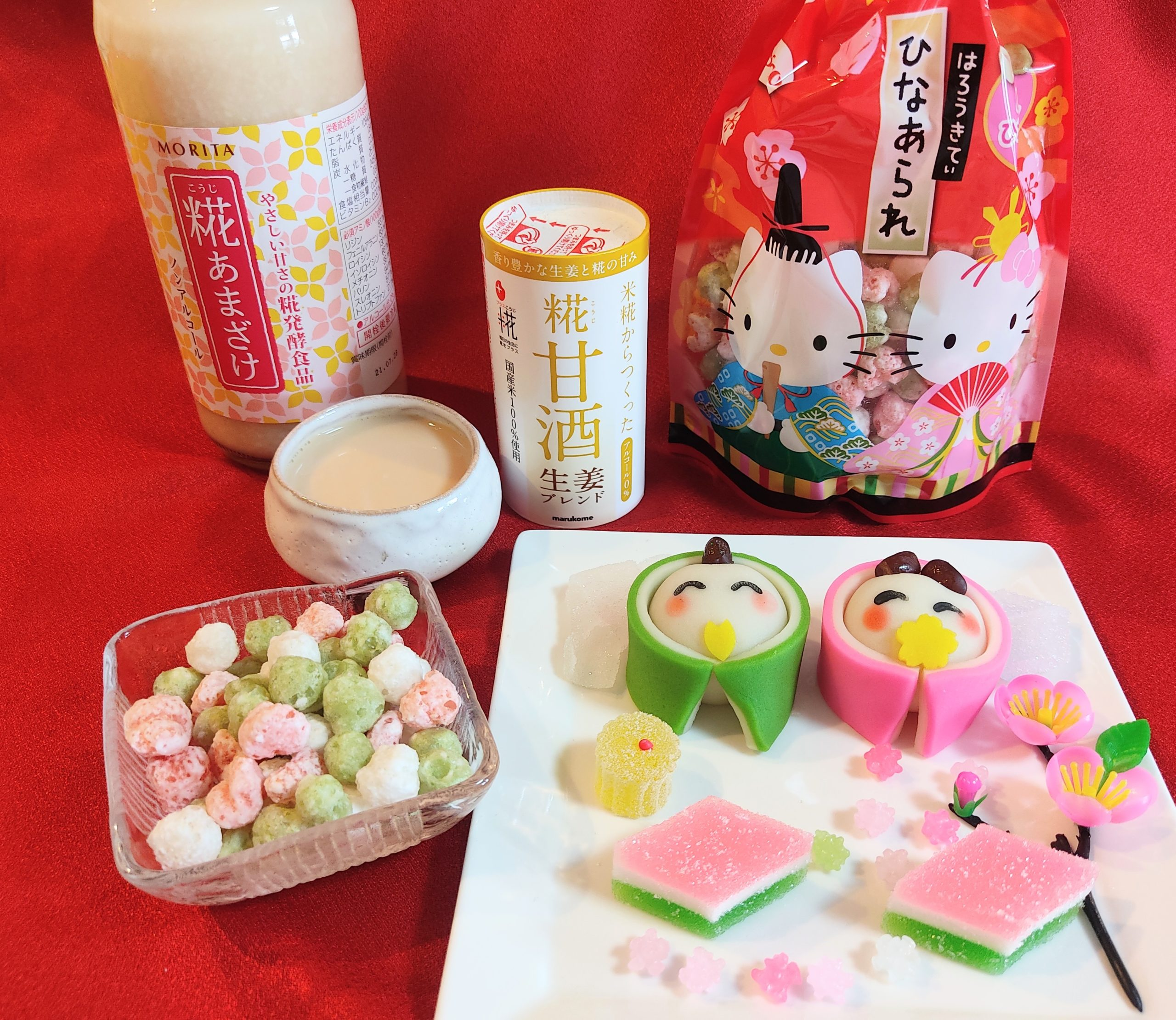 Hello kitty hina arare, amazake, hishimochi, Japanese sweets and traditional food eaten during the Hina Matsuri holiday