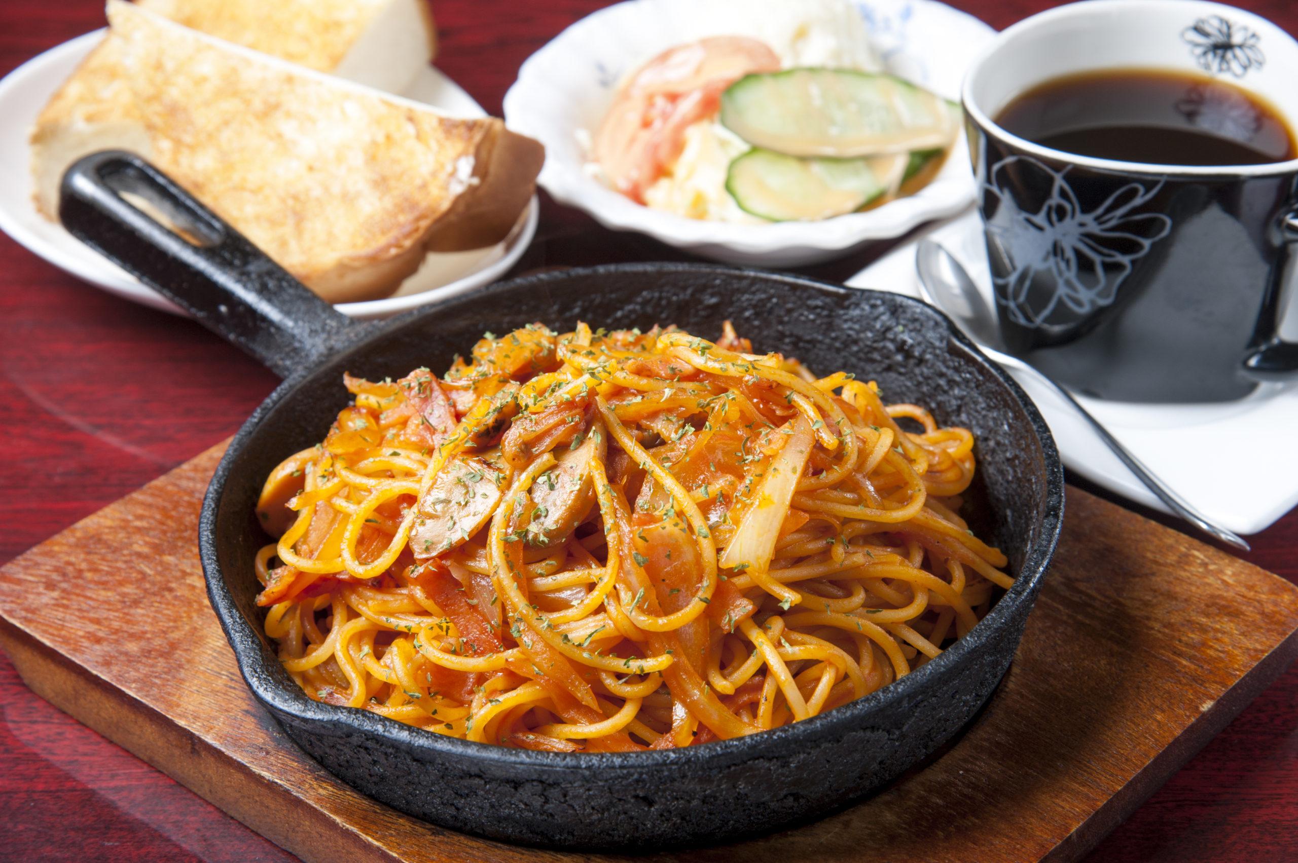 Japanese food, Napolitan spaghetti served warm at kissaten restaurant