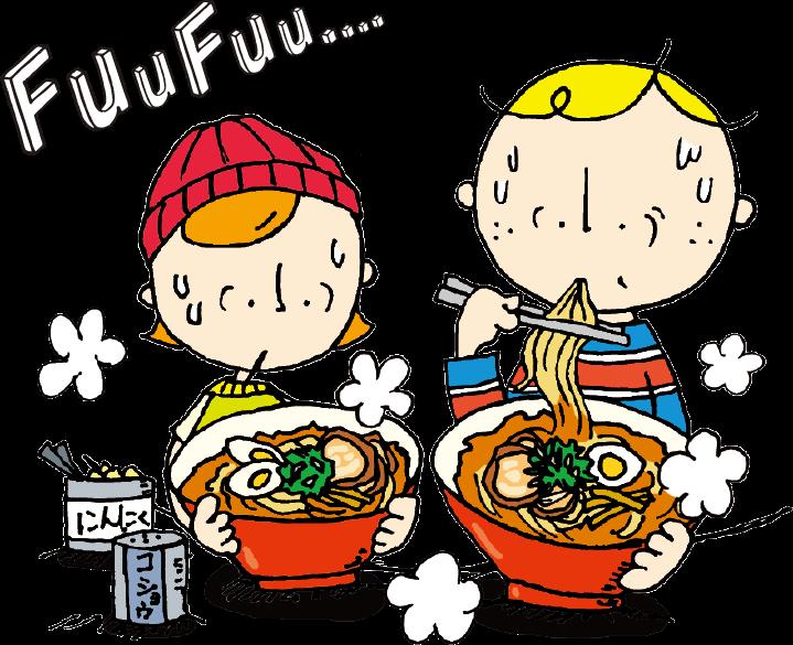 大阪ボブとベティがラーメンを食べるイラスト