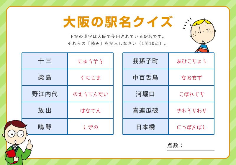 大阪の駅名クイズの回答