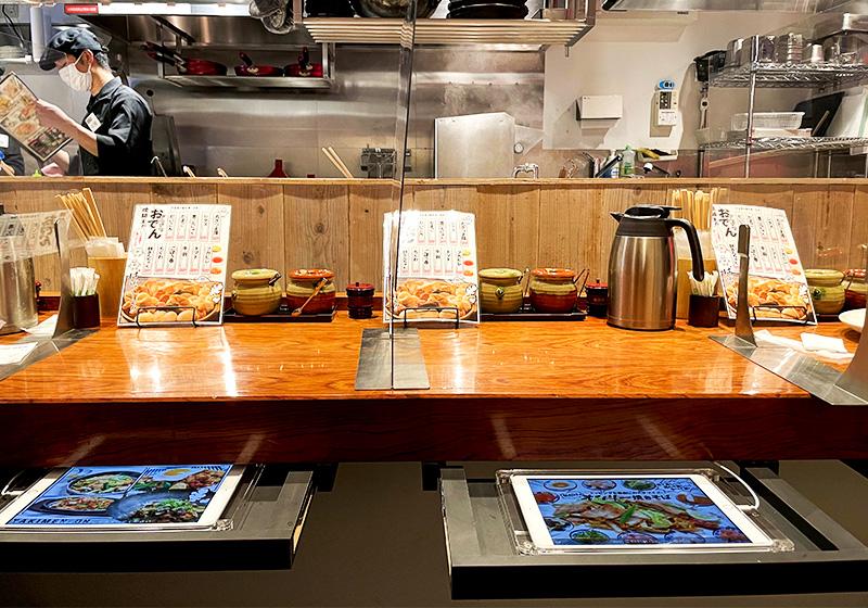 焼麺王京橋店の非接触型パネル