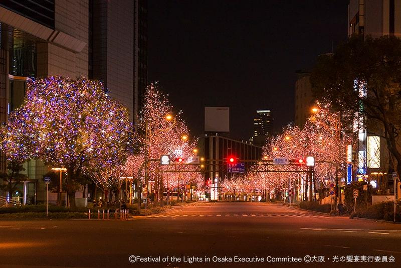 御堂筋イルミネーションの桜色